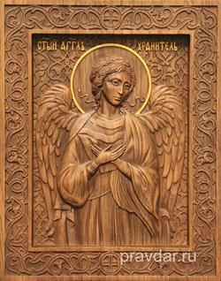 Ангел Хранитель, резная икона на дубовой цельноламельной доске - фото 8749