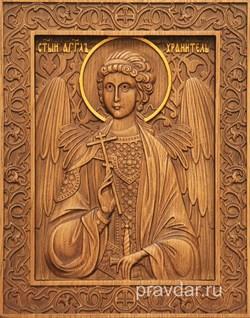 Ангел Хранитель, резная икона на дубовой цельноламельной доске - фото 8751
