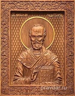 Николай Чдотворец, резная икона на дубовой цельноламельной доске - фото 8771