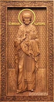 Николай Чудотворец, резная икона на дубовой цельноламельной доске (ростовая) - фото 8773