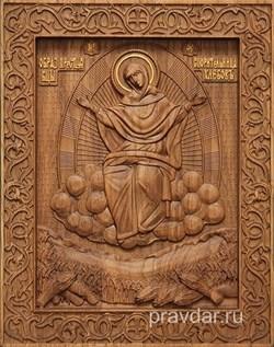 Спорительница хлебов Божия Матерь, резная икона на дубовой цельноламельной доске