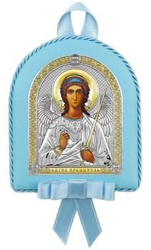 Ангел Хранитель, кожаный медальон с музыкой, серебряная икона с позолотой - фото 9270