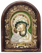 Владимирская Божья Матерь, дивеевская икона из бисера ручной работы