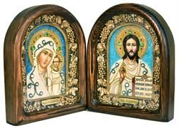 Венчальная пара, дивеевская икона (белый-синий)