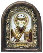 Николай Чудотворец, дивеевская икона из бисера и натуральных камней