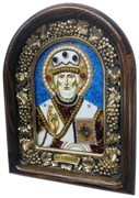Николай Чудотворец, дивеевская икона из бисера ручной работы