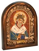 Спиридон Тримифунтский, дивеевская икона из бисера ручной работы