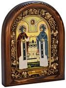 Святые Петр и Феврония, дивеевская икона из бисера (писаный лик)