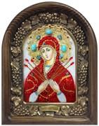 Семистрельная образ Божией Матери, дивеевская икона из бисера и натуральных камней