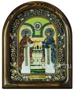 Святые Петр и Феврония, дивеевская икона из бисера и натуральных камней