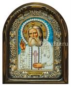 Серафим Саровский Преподобный, дивеевская икона из бисера и натуральных камней
