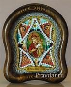 Неопалимая Купина образ Божией Матери, дивеевская икона из бисера