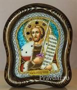 Александр Невский, дивеевская икона из бисера