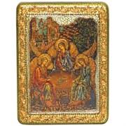 Троица икона в авторском стиле на мореном дубе