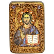 Господь Вседержитель икона в авторском стиле на мореном дубе