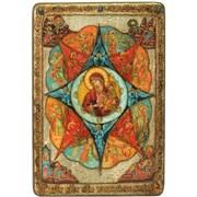 Неопалимая купина икона в авторском стиле на доске из мореного дуба (Большая)