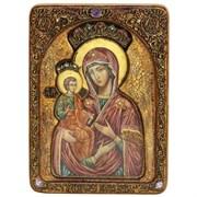 Троеручица образ Божией Матери живописная икона в авторском стиле