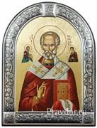 Николай Чудотворец, икона с серебряной рамкой