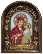 Скоропослушница образ Божией Матери, дивеевская икона из бисера и натуральных камней