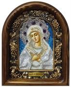 Умиление образ Божией Матери, дивеевская икона из бисера и натуральных камней