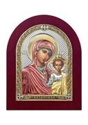 Казанская Божия Матерь, серебряная икона деревянный оклад цветная эмаль