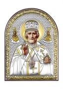 Николай Чудотворец, серебряная икона с позолотой