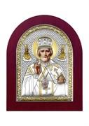 Николай Чудотворец, серебряная икона деревянный оклад