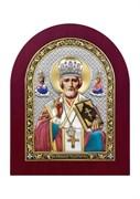 Николай Чудотворец, серебряная икона деревянный оклад цветная эмаль