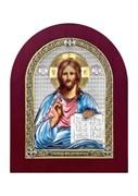Господь Вседержитель, серебряная икона деревянный оклад цветная эмаль