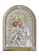 Владимирская Божия Матерь, серебряная икона с позолотой
