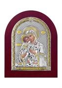 Владимирская Божия Матерь, серебряная икона деревянный оклад