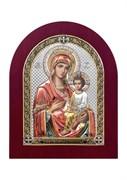 Скоропослушница Божия Матерь, серебряная икона деревянный оклад цветная эмаль