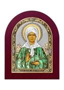 Матрона Московская, серебряная икона деревянный оклад цветная эмаль