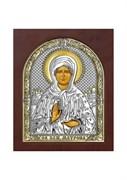 Матрона Московская, серебряная икона деревянный оклад с магнитом
