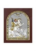 Георгий Победоносец, серебряная икона деревянный оклад с магнитом