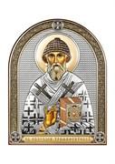 Спиридон Тримифунтский, серебряная икона с позолотой и цветной эмалью