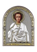 Пантелеймон целитель, серебряная икона с позолотой