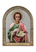 Пантелеймон целитель, серебряная икона с позолотой и цветной эмалью