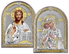 Венчальная пара серебряные иконы с позолотой (Владимирская)