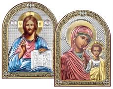 Венчальная пара серебряные иконы с позолотой и цветной эмалью (Казанская)