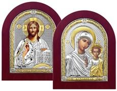 Венчальная пара, серебряные иконы с позолотой в деревянной рамке (Казанская)