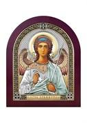 Ангел Хранитель, серебряная икона деревянный оклад цветная эмаль