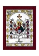 Спас Древо Жизни, серебряная икона с позолотой в деревянной рамке