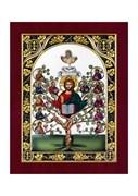 Спас Древо Жизни, серебряная икона с позолотой и цветной эмалью в деревянной рамке
