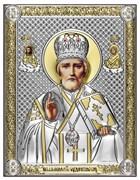 Николай Чудотворец, серебряная икона с позолотой на дереве (Beltrami)
