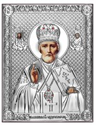 Николай Чудотворец, серебряная икона на дереве (Beltrami)