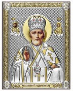Николай Чудотворец, серебряная икона с позолотой, рамка-магнит (Beltrami)