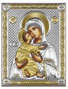 Владимирская Божия Матерь, серебряная икона с позолотой на дереве (Beltrami)