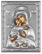 Владимирская Божия Матерь, серебряная икона на дереве (Beltrami)