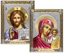 Венчальная пара, серебряные иконы с позолотой и цветной эмалью, лик шелкография (Казанская)
